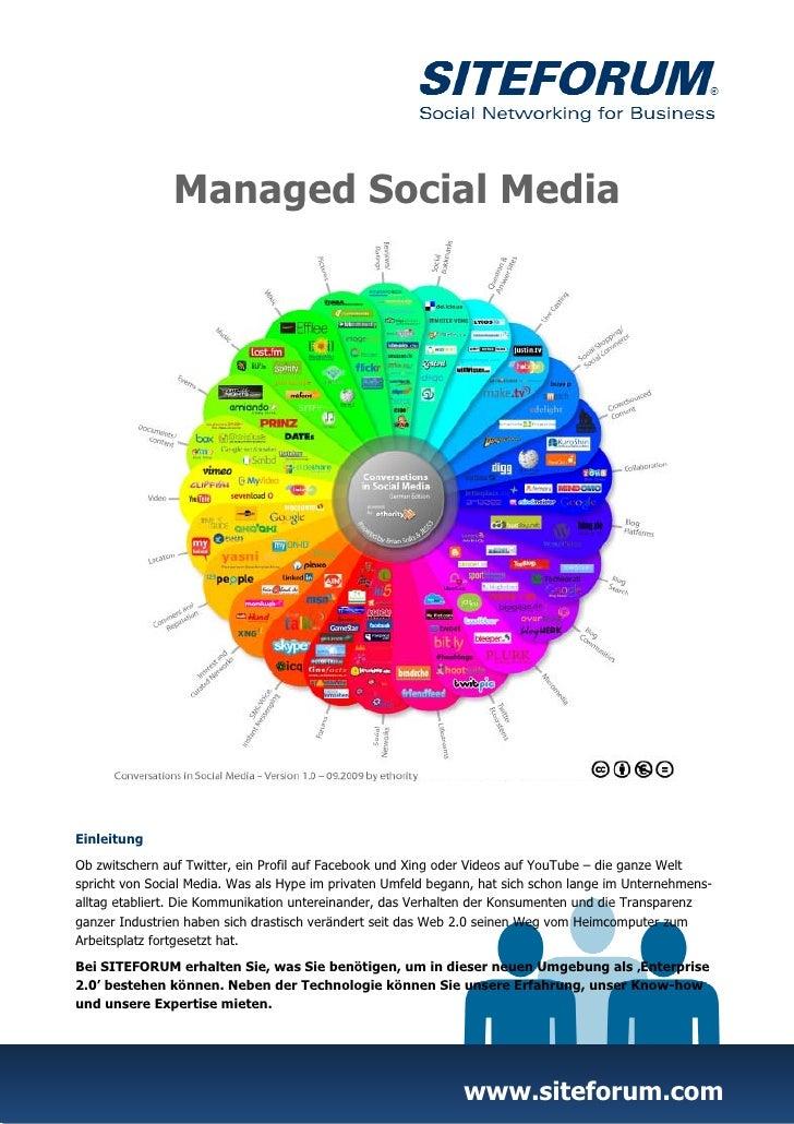 Managed Social MediaEinleitungOb zwitschern auf Twitter, ein Profil auf Facebook und Xing oder Videos auf YouTube – die ga...
