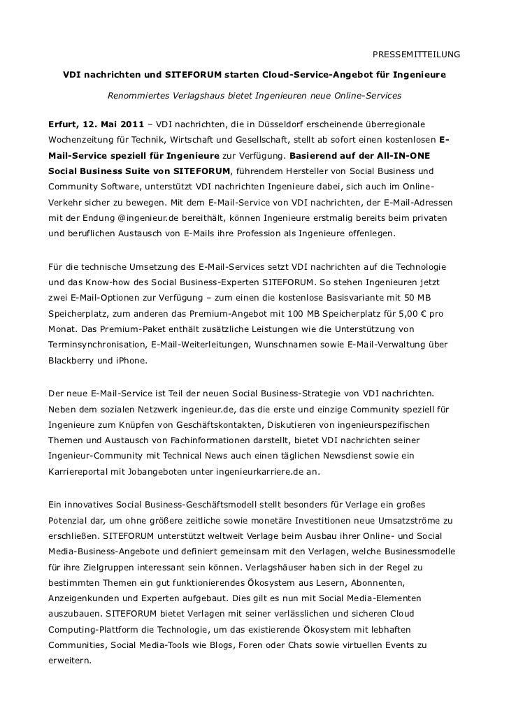 PRESSEMITTEILUNG   VDI nachrichten und SITEFORUM starten Cloud-Service-Angebot für Ingenieure             Renommiertes Ver...
