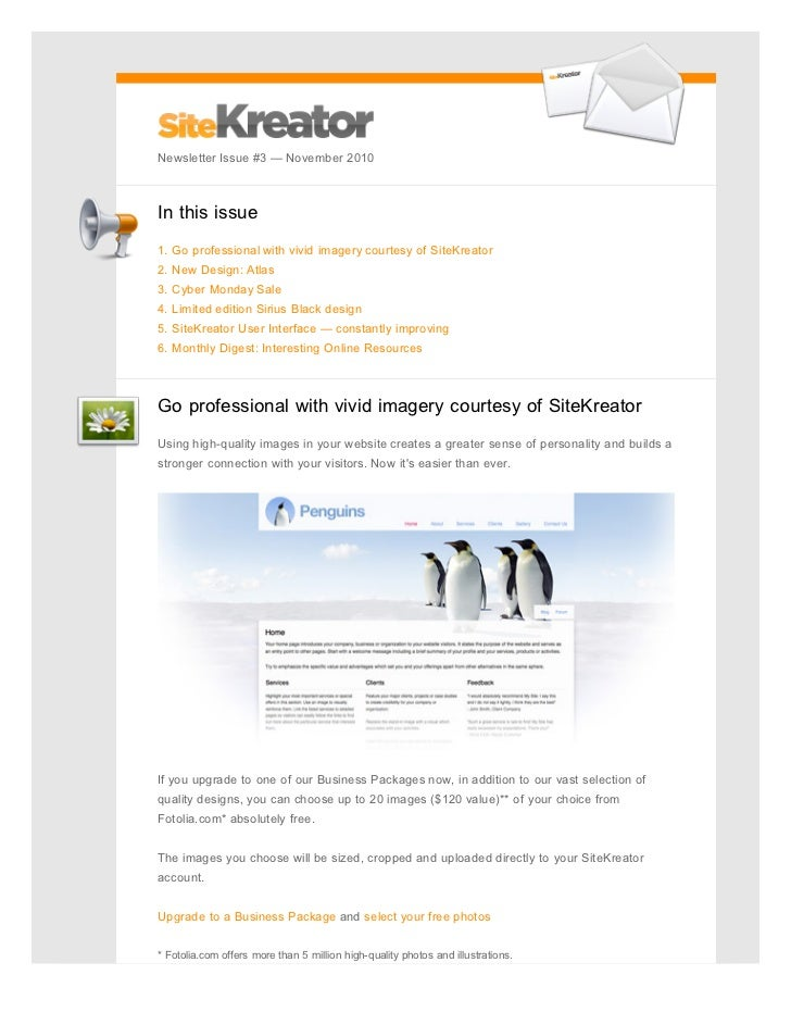 SiteKreator Newsletter November 2010