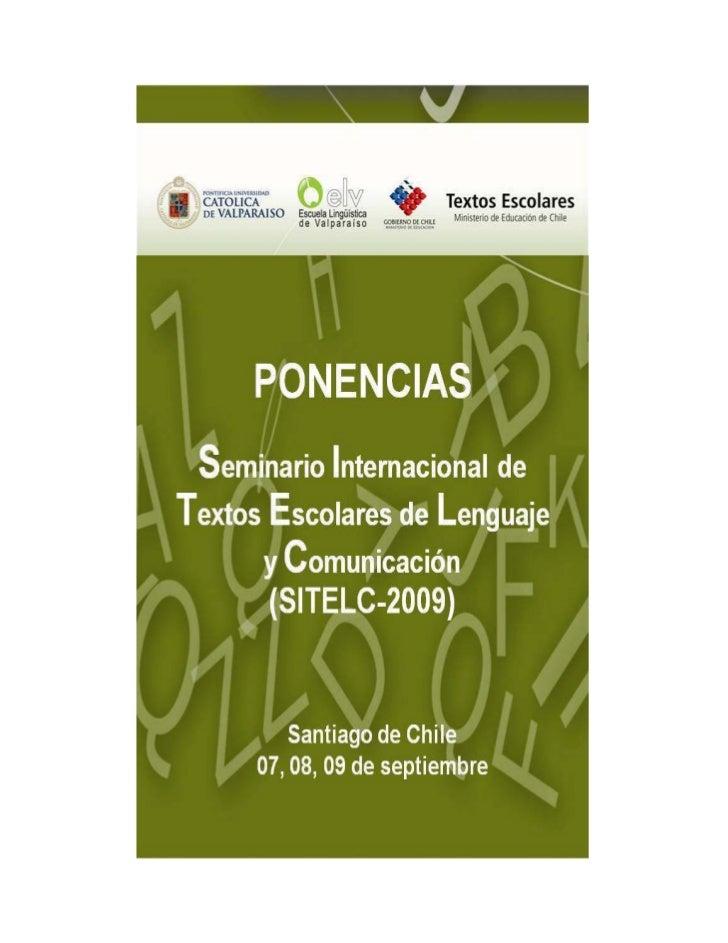Seminario Internacional de Textos Escolares de Lenguaje y Comunicación 2009