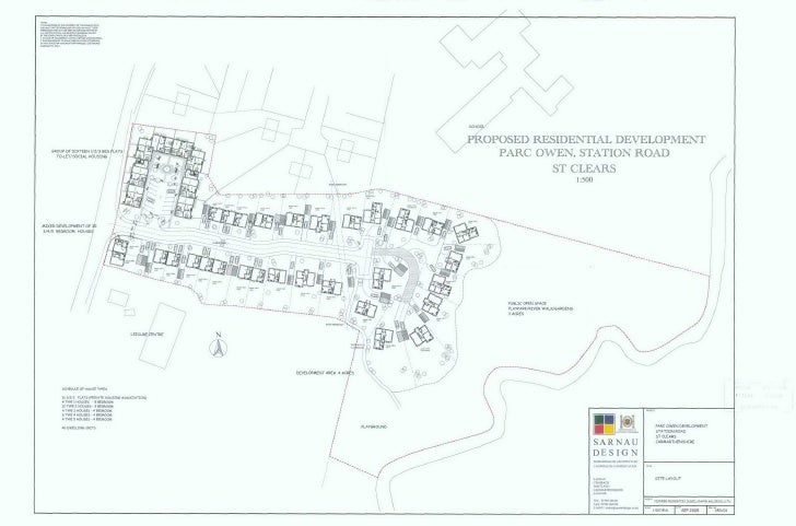 New Housing Site Plan Station Road, St Clears