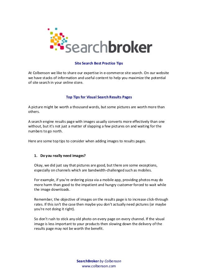 SearchBroker by Colbenson www.colbenson.com     Site Search Best Practice Tips  At Colbenson...