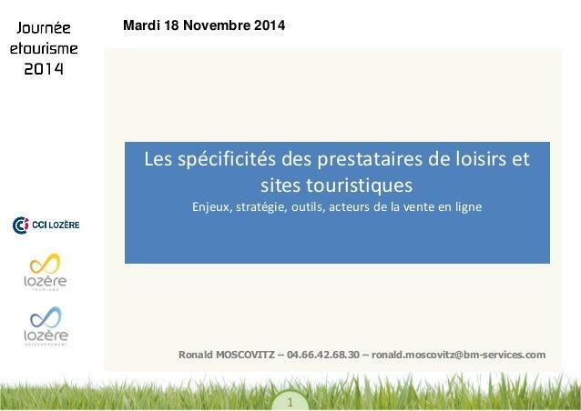 1  DESIGN  Les spécificités des prestataires de loisirs et sites touristiques Enjeux, stratégie, outils, acteurs de la ven...