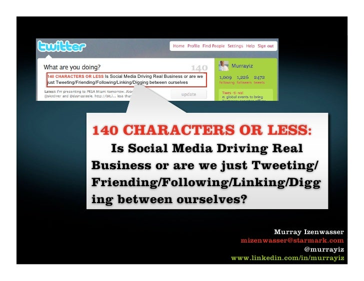Site Florida - Social Media Strategy and Tactics Presentation: 140 CHARACTERS OR LESS:      Is Social Media Driving Real Business or are we just Tweeting/     Friending/Following/Linking/Digging between ourselves?