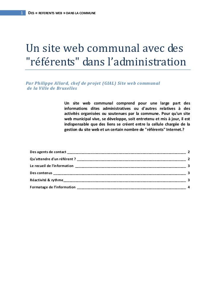 """1 DES«REFERENTSWEB»DANSLACOMMUNE      Unsitewebcommunalavecdes  """"référents""""dansl'administration    Par..."""