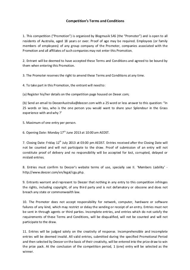 Sitg  deezer terms and conditions