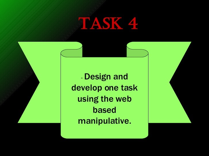 Task 4 -  Design and develop one task using the web based manipulative.