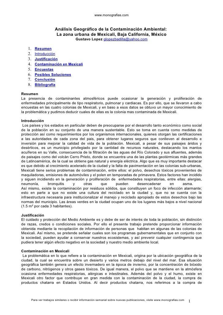 www.monografias.com                          Análisis Geográfico de la Contaminación Ambiental:                       La z...