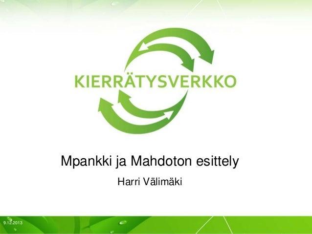 Resurssivirrat haltuun -seminaari: Harri Välimäki, Kierrätysverkko oy
