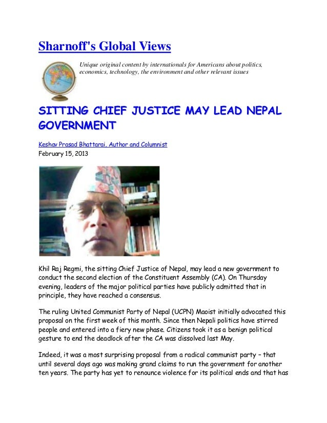 Sitting chief justice may lead nepal government