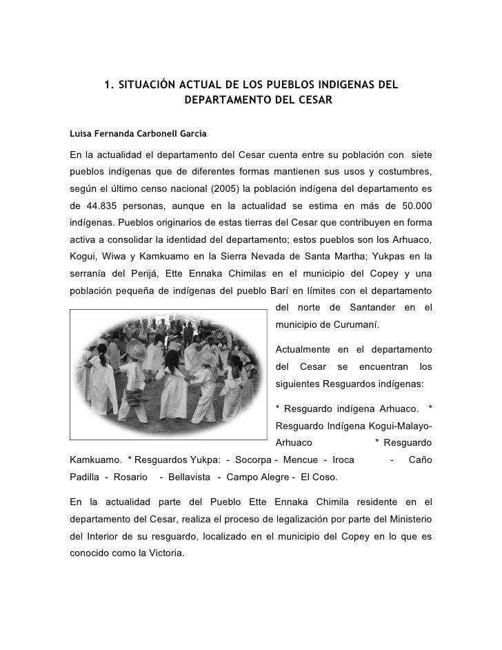 1. SITUACIÓN ACTUAL DE LOS PUEBLOS INDIGENAS DEL                      DEPARTAMENTO DEL CESAR  Luisa Fernanda Carbonell Gar...