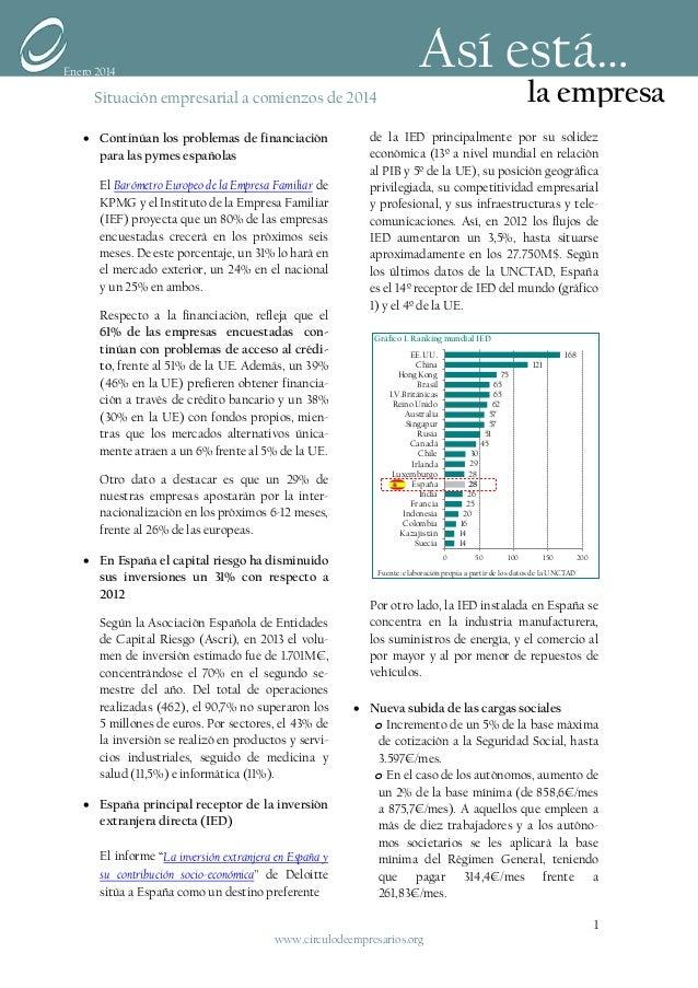 Así está…  Enero 2014  la empresa  Situación empresarial a comienzos de 2014 • Continúan los problemas de financiación par...