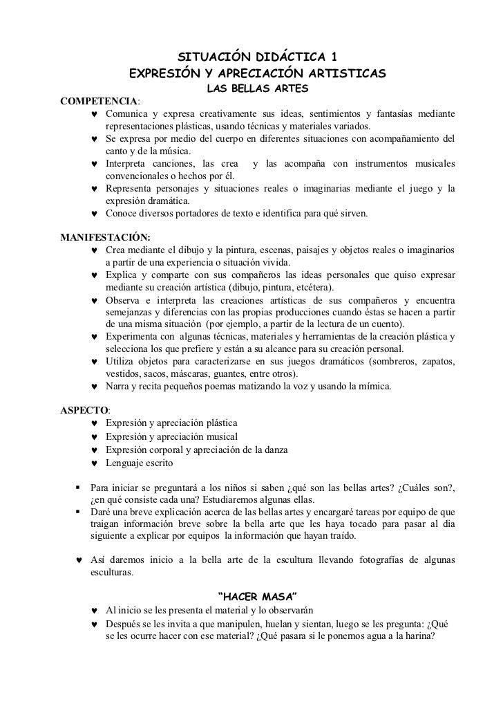 SITUACIÓN DIDÁCTICA 1                EXPRESIÓN Y APRECIACIÓN ARTISTICAS                               LAS BELLAS ARTESCOMP...