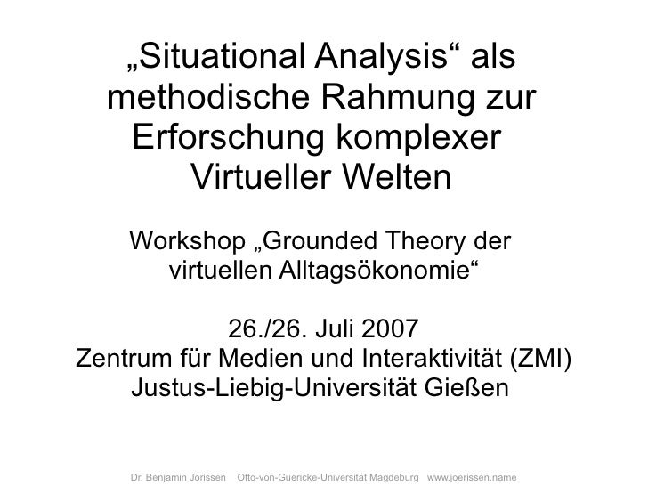 """Situational Analysis"" als   methodische Rahmung zur    Erforschung komplexer        Virtueller Welten     Workshop ""Groun..."