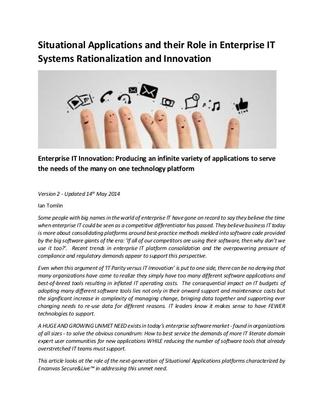 Situational Applications and their Role in Enterprise IT Systems Rationalization and Innovation Enterprise IT Innovation: ...