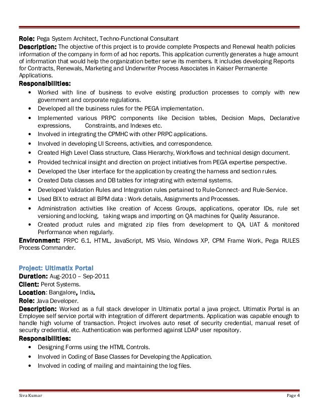 application system architect resume sample