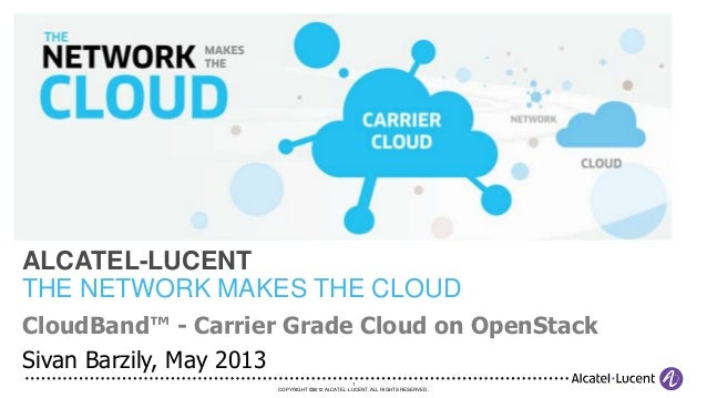 1COPYRIGHT ©2012 ALCATEL-LUCENT. ALL RIGHTS RESERVED.CloudBand™ - Carrier Grade Cloud on OpenStackSivan Barzily, May 2013A...