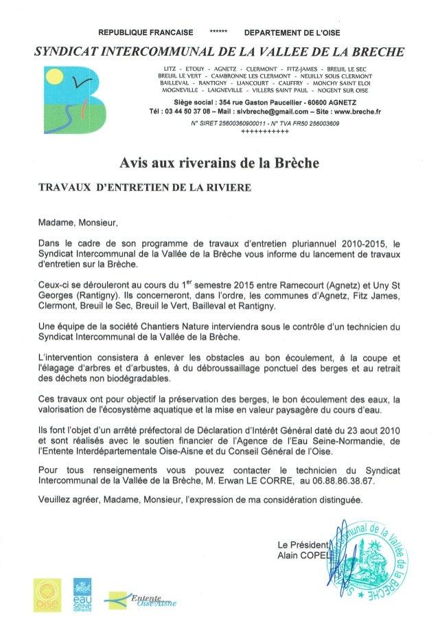 Déclaration d'Intérêt Général des travaux d'entretien de la Brèche et de ses affluents Dossier de présentation. 1 SYNDICAT...