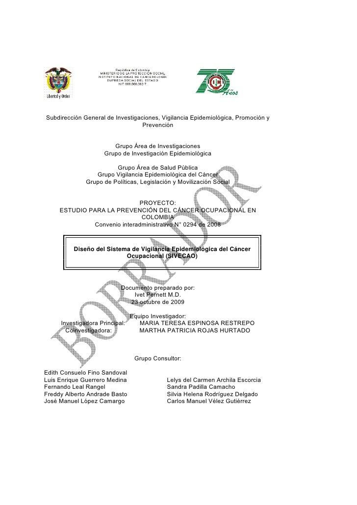 DOC. SISTEMA DE VIGILANCIA EPIDEMIOLOGICA DEL CANCER OCUPACIONAL EN COLOMBIA