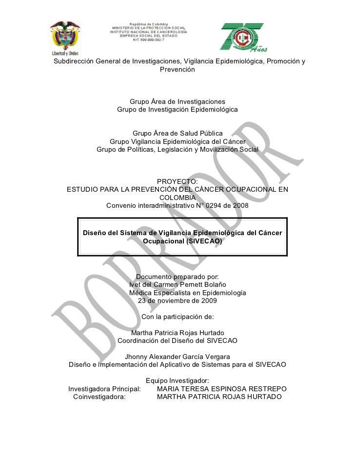 Subdirección General de Investigaciones, Vigilancia Epidemiológica, Promoción y                                  Prevenció...