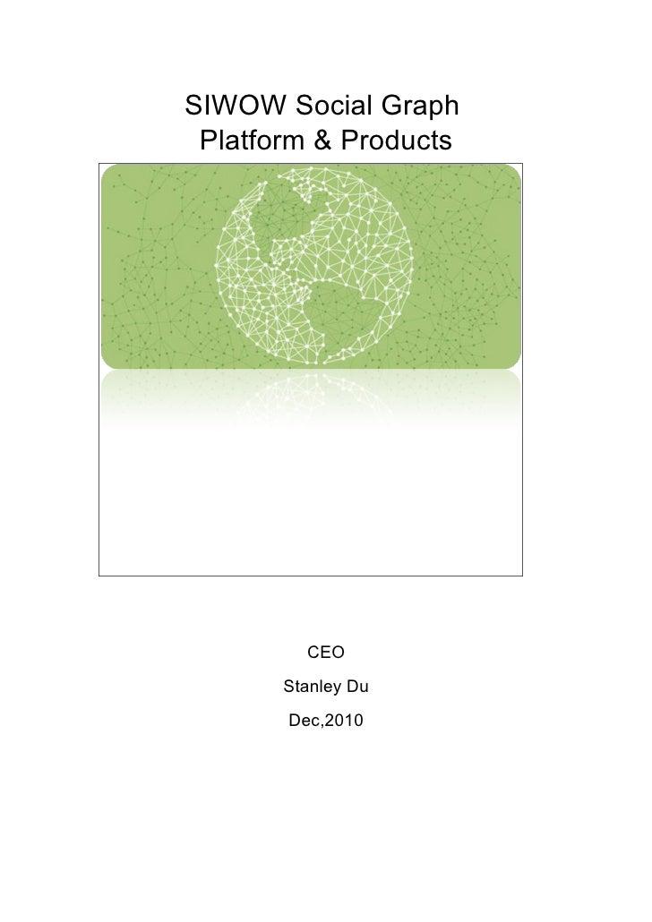 SIWOW Social Graph Platform & Products         CEO       Stanley Du       Dec,2010