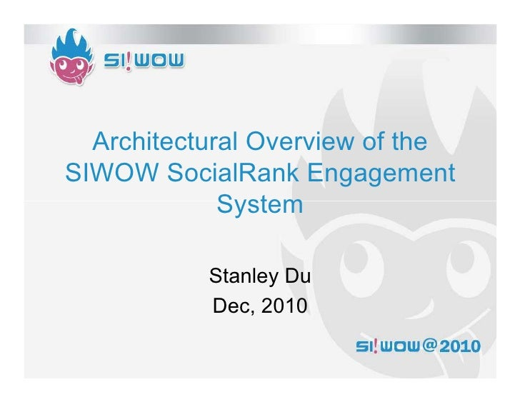 Architectural Overview of theSIWOW SocialRank Engagement             System           Stanley Du           Dec, 2010
