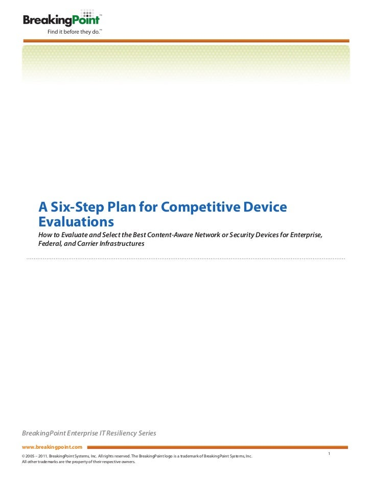 A Six-Step Plan for Competitive Device         Evaluations         How to Evaluate and Select the Best Content-Aware Netwo...