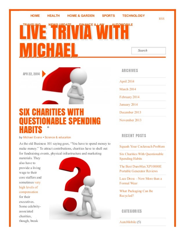 Six charities with questionable spending habits   live trivia with michael