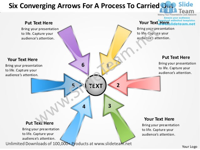 Six coverging arrows for process to carried out charts and power point slides