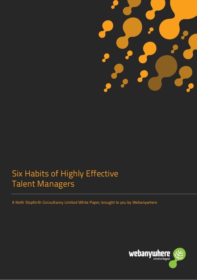 Talent Management: Effective Habits of Talent Managers