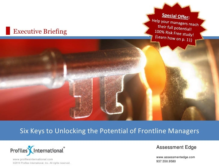 Executive Briefing           Six Keys to Unlocking the Potential of Frontline Managers                                    ...