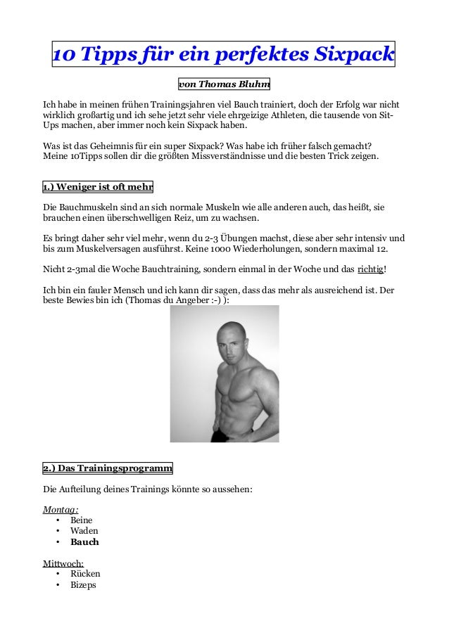 Sixpack Tipps Thomas Bluhm