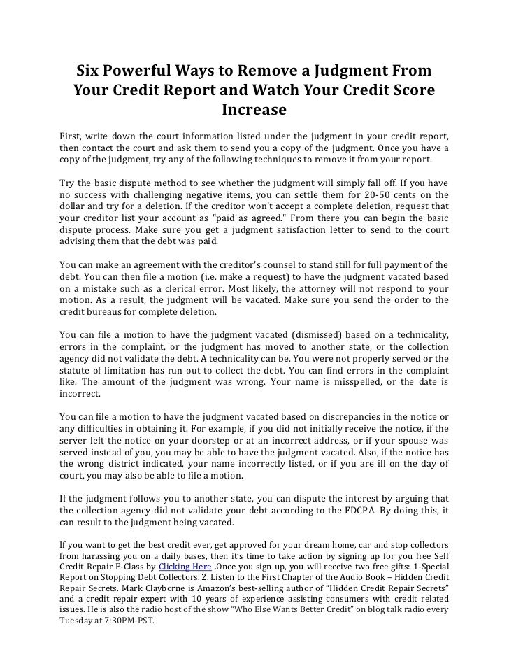 Six powerful ways to remove a judgment from your credit for Bureau report