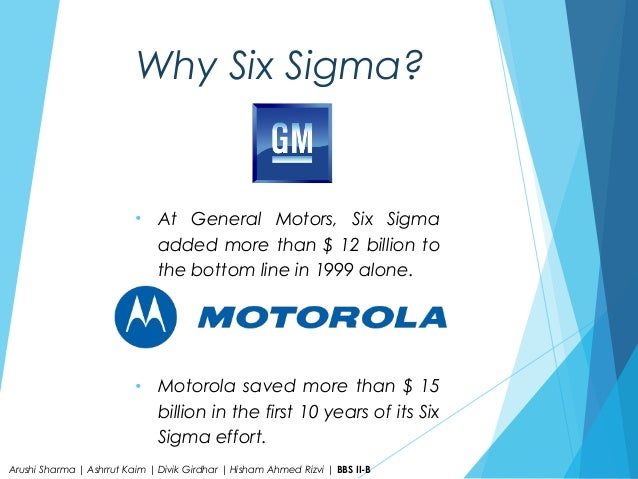 building six sigma excellence case study of general electric The six sigma methodology is not a and later changed it to the plan-do-study-act or concept of six sigma to jack welch, ceo of general electric.