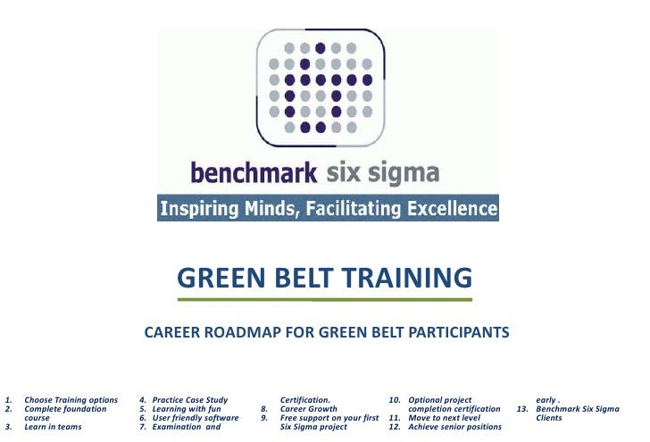 GREEN BELT TRAINING                                 CAREER ROADMAP FOR GREEN BELT PARTICIPANTS   1.   Choose Training opti...