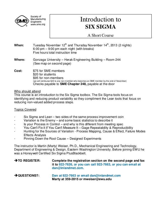Six sigma course 2013