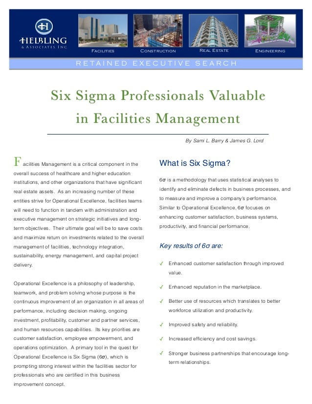 Six Sigma Professionals Valuable in Facilities Management