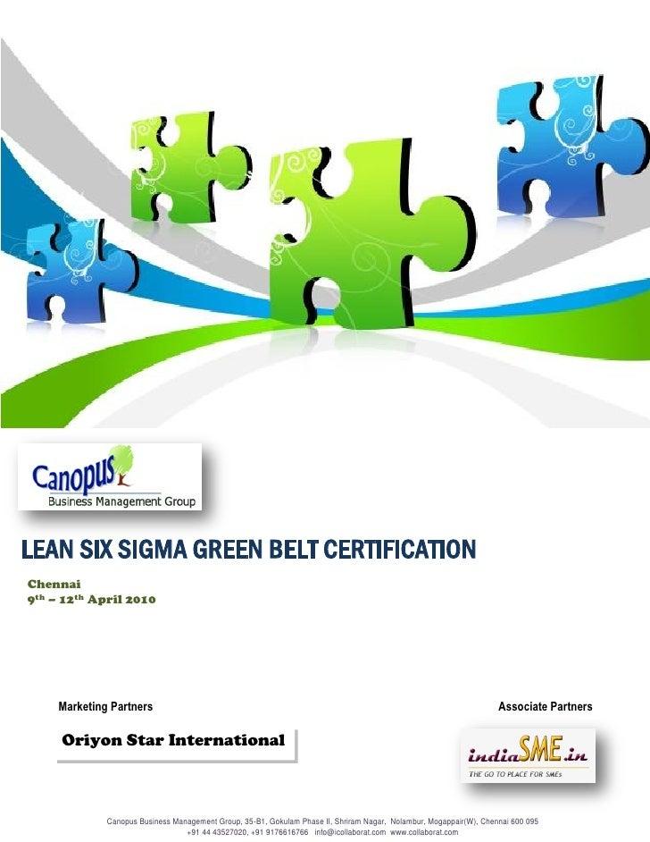 Six Sigma Green Belt Training Chennai April