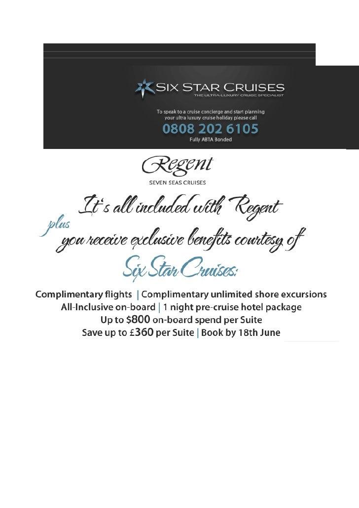 Six Star Cruises - Regent Cruises - eNewsletter 11.06.12