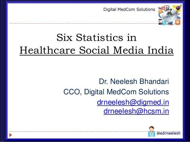 Six Statistics in Healthcare Social Media India Dr. Neelesh Bhandari CCO, Digital MedCom Solutions drneelesh@digmed.in drn...