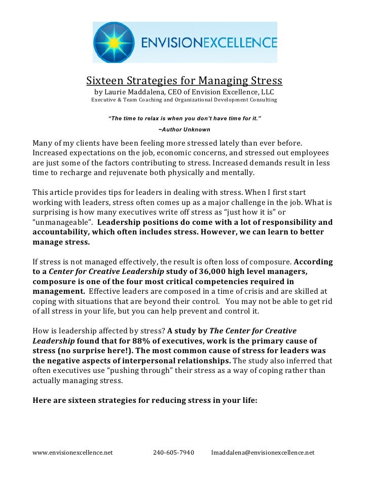 Sixteen Strategies For Managing Stress
