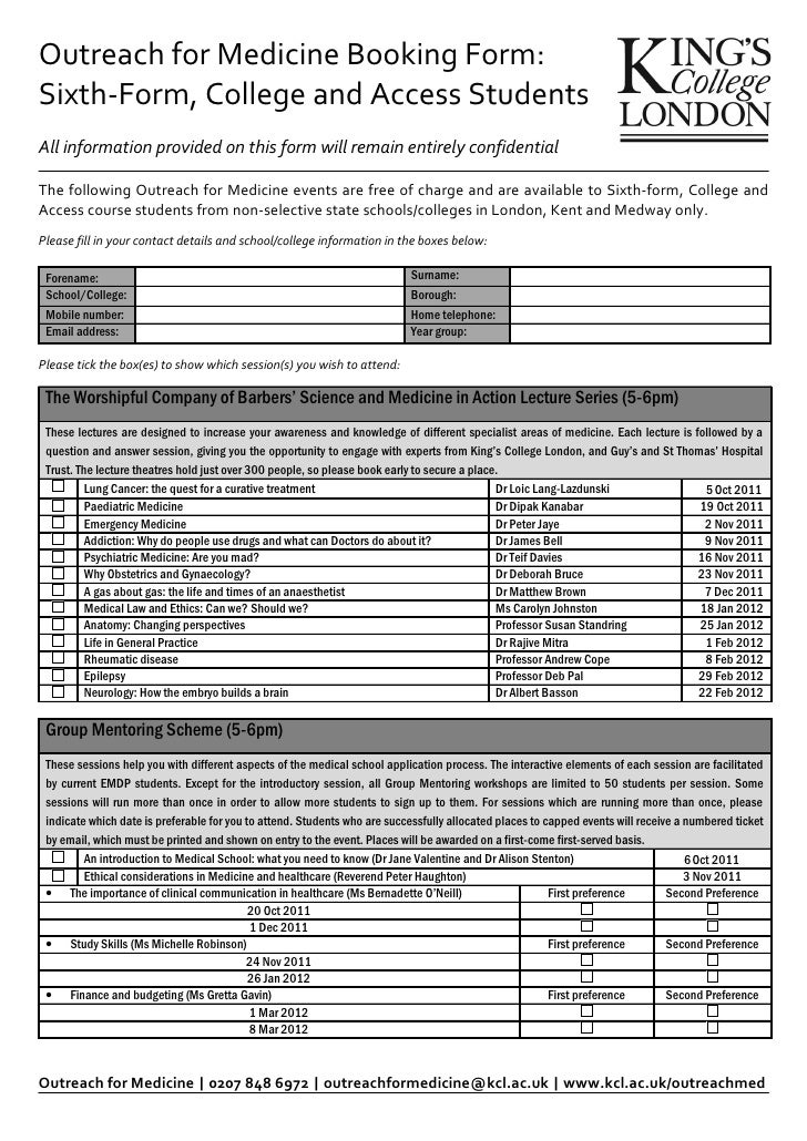 Outreach for Medicine Sixth form booking form 2011-12