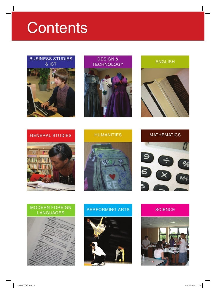 Contents	              BUSINESS	STUDIES       DESIGN	&	                                                     ENGLISH       ...