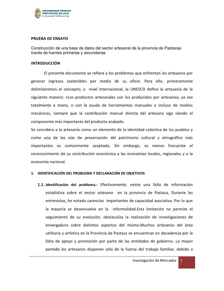 PRUEBA DE ENSAYOConstrucción de una base de datos del sector artesanal de la provincia de Pastazaatravés de fuentes primar...