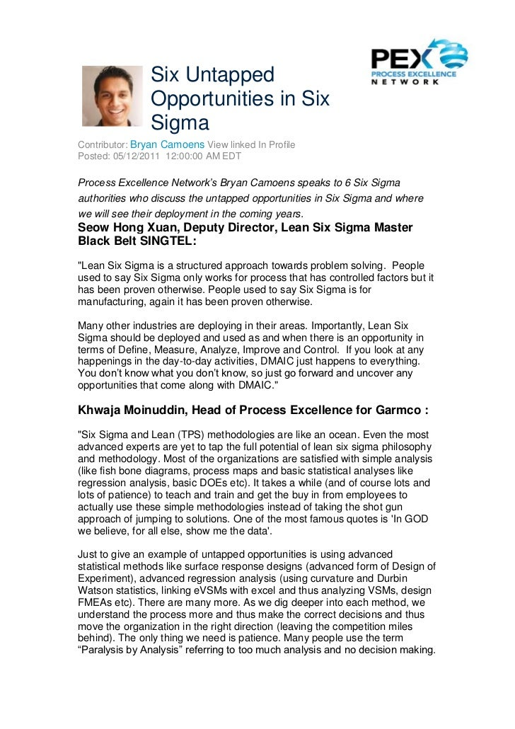 Six Untapped                Opportunities in Six                SigmaContributor: Bryan Camoens View linked In ProfilePost...