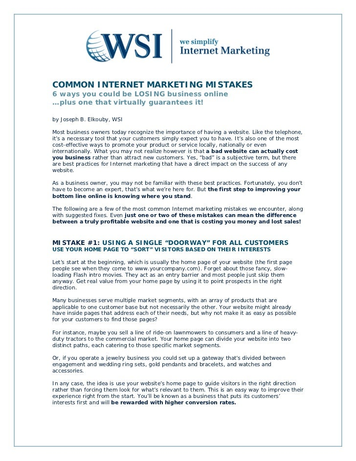 COMMON INTERNET MARKETING MISTAKES6 ways you could be LOSING business online…plus one that virtually guarantees it!by Jose...