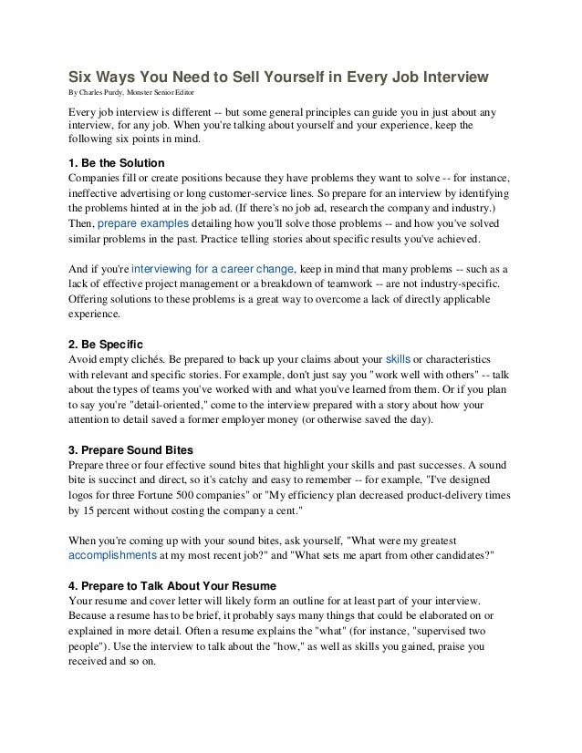 six ways you need to sell yourself in every job interview jpg cb  bibliography essays