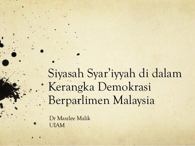 Kertas Kerja Maszlee Malik (Siyasah Syariyyah) Bahasa Melayu