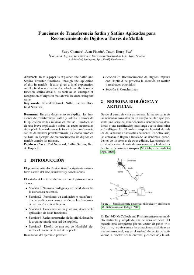 Funciones de Transferencia Satlin y Satlins Aplicadas para  Reconocimiento de D´ıgitos a Trav´es de Matlab  Sairy Chamba1,...