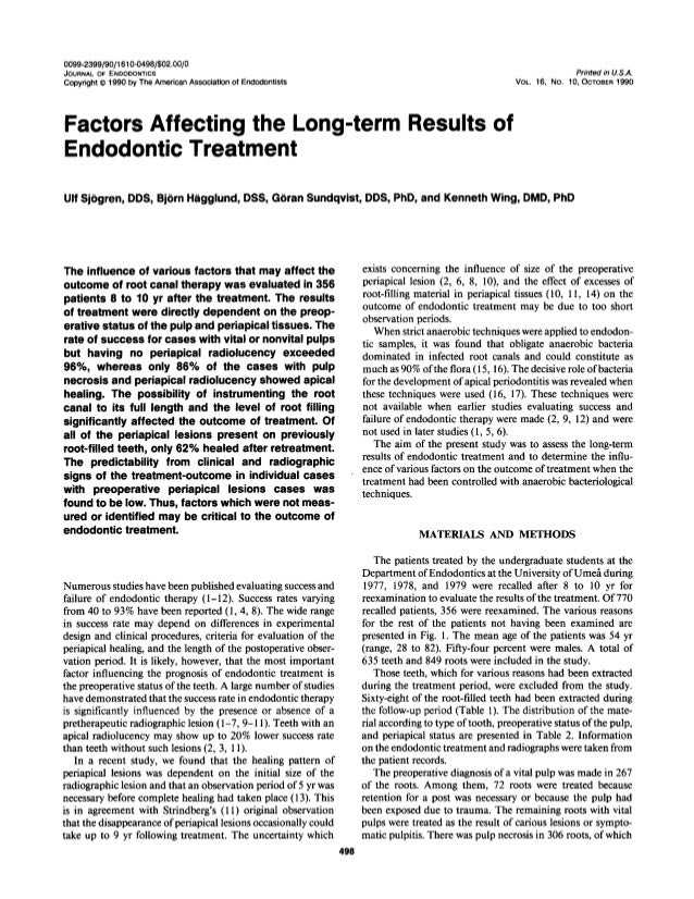 Factors Affecting the Long-term Results of Endodontic Treatment